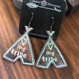 Jewelry - Love my tribe Copper Patina Earrings